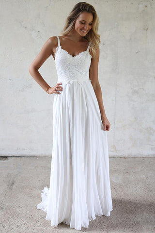 White A-line Spaghetti Straps Lace Top Wedding Dresses