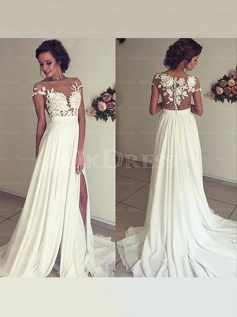 Admirable A-line Lace Appliqued Sweep Train Chiffon Wedding Dresses