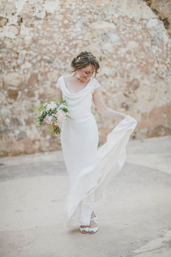Sheath Cap Sleeves Simple Wedding Dresses