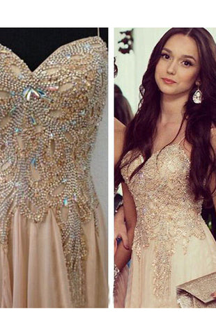 Shining Sleeveless Chiffon Natural Champagne Prom Dresses