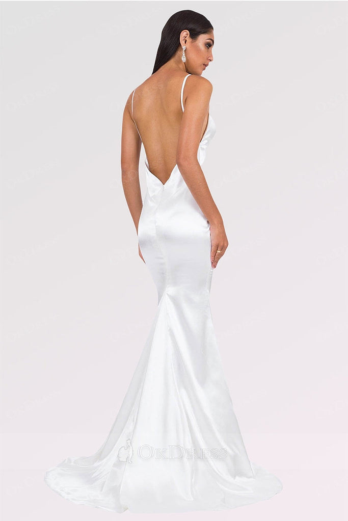 White Long Mermaid V-neck Satin Backless Prom Dresses