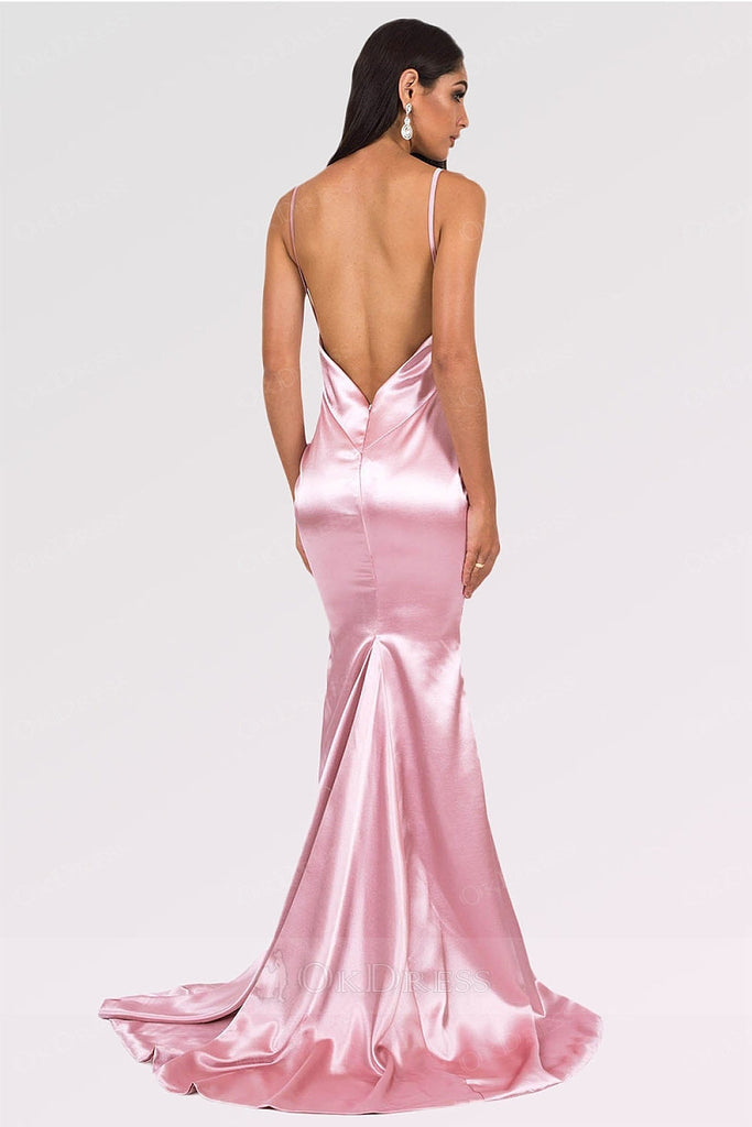 Pink Long Mermaid V-neck Satin Backless Prom Dresses