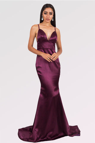 Grape Long Mermaid V-neck Satin Backless Prom Dresses