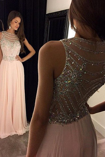 pink A-line Scoop Beading Zipper Up at Side Floor-length Prom Dresses