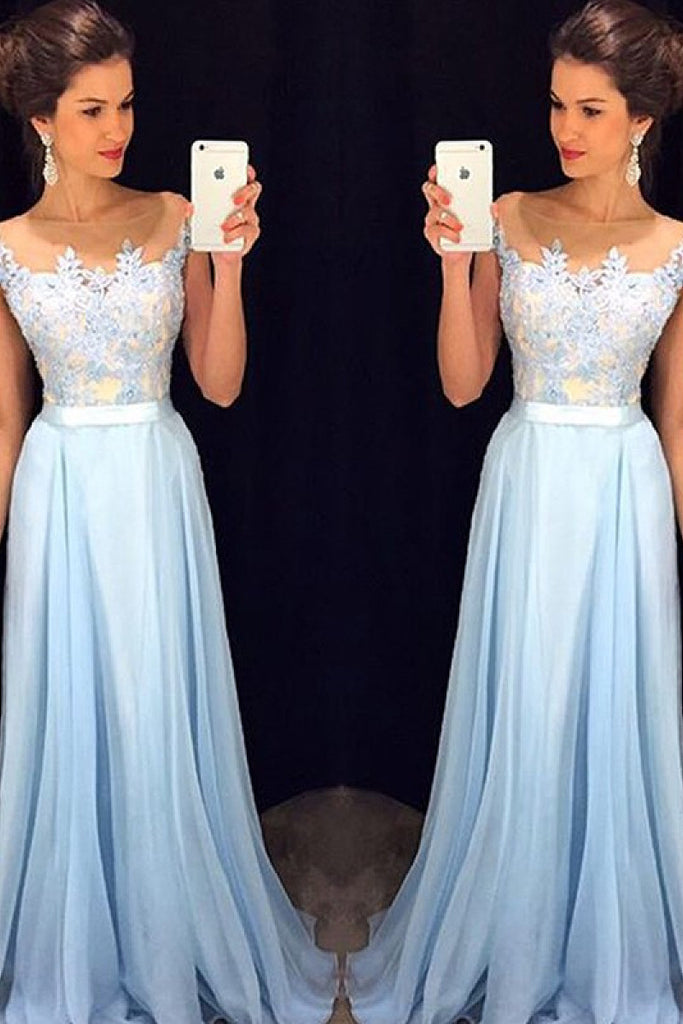 Delicate Sky Blue A-line Long Chiffon Sleeveless Scoop Prom Dresses
