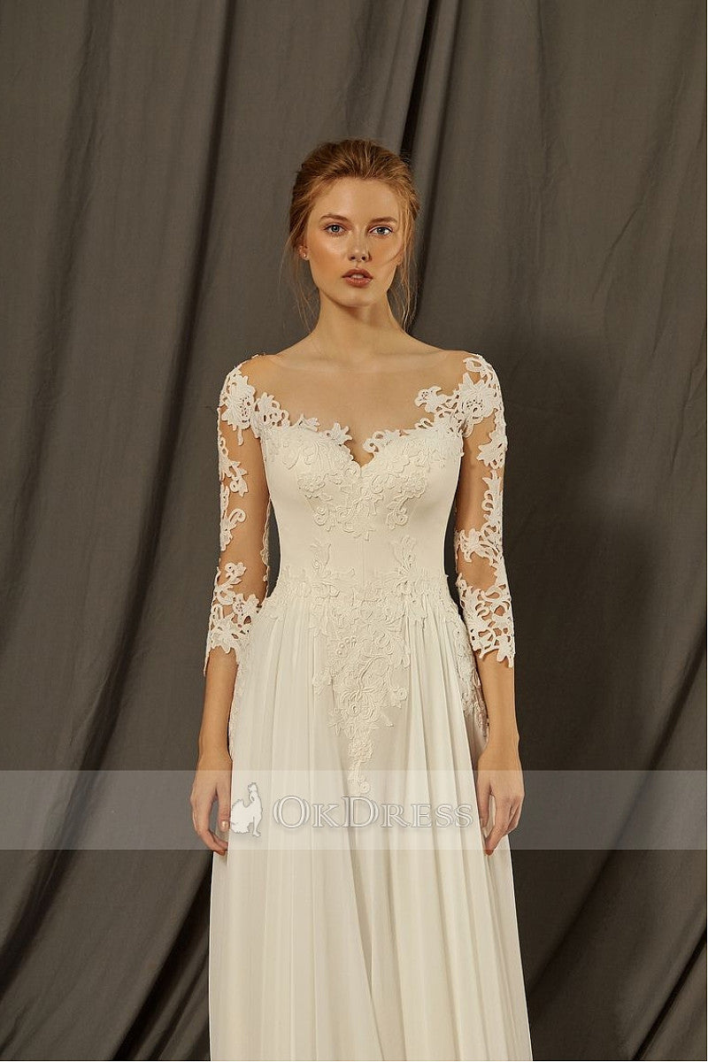 Ivory V-Neck Chiffon Wedding Dresses with 3/4 Sleeves