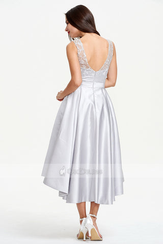 Silver Asymmetrical A-line Sleeveless Lace Satin Prom Dresses