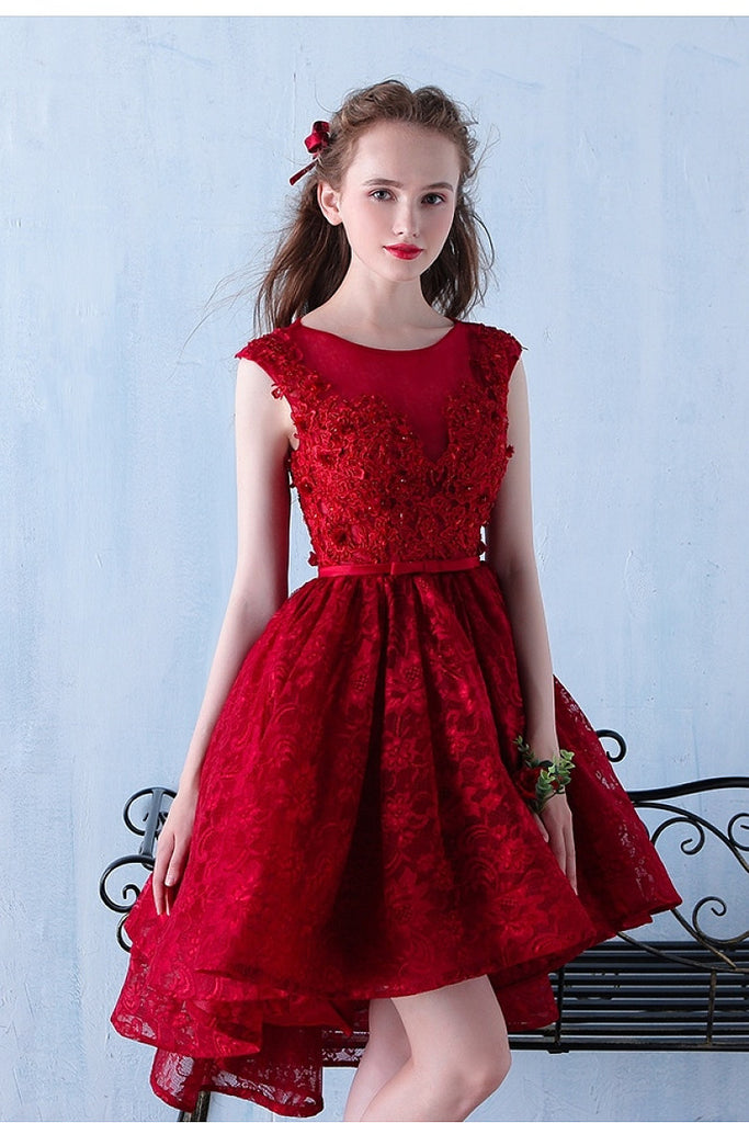 High Low Hi-lo A-line Lace Applique Beading Formal Prom Dresses