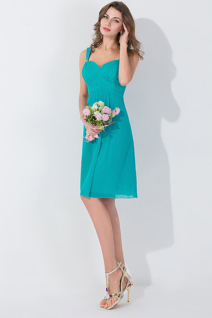 A-line Zipper Chiffon Sleeveless Short Bridesmaid Dresses