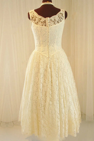 Straps Tea-length Lace Natural White Sleeveless Wedding Dresses