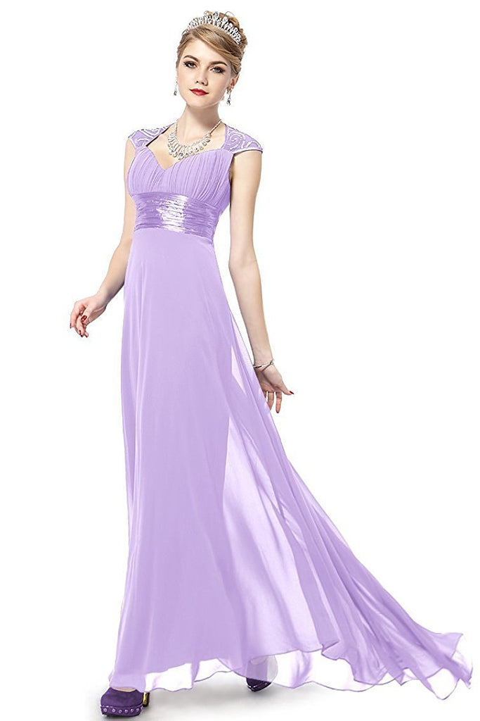 OKdress Chiffon Long Lilac Formal Prom Dress