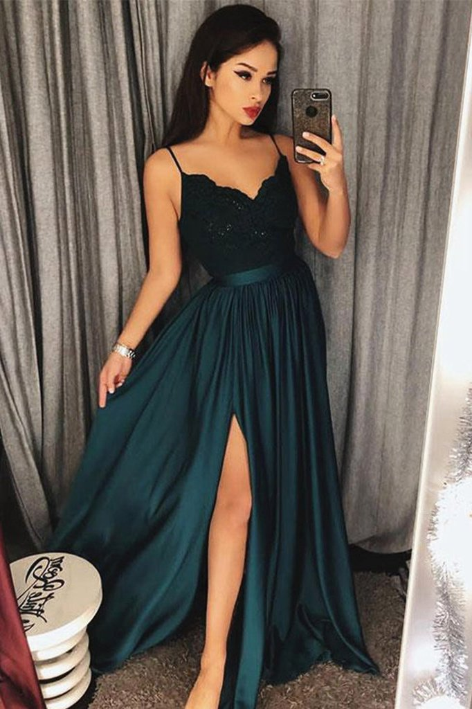 Sexy V-Neck Spaghetti Straps Split Lace Long Prom Dresses