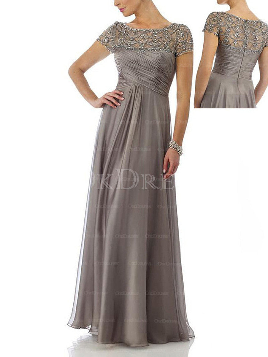 Attractive Beaded Natural Long/Floor-length Bateau Mother Of The Bride Dresses