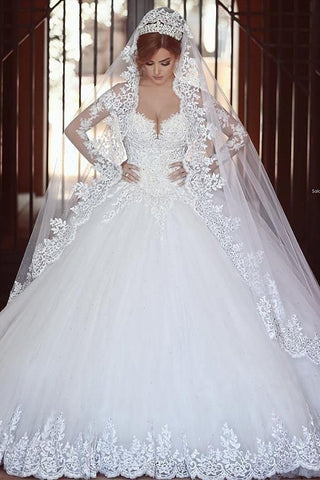 Long Sleeves Sweetheart Chapel Train Natural Ball Gown Wedding Dresses