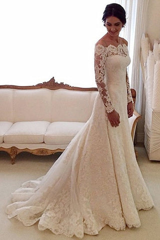 Admirable Lace Court Train Natural Wedding Dresses