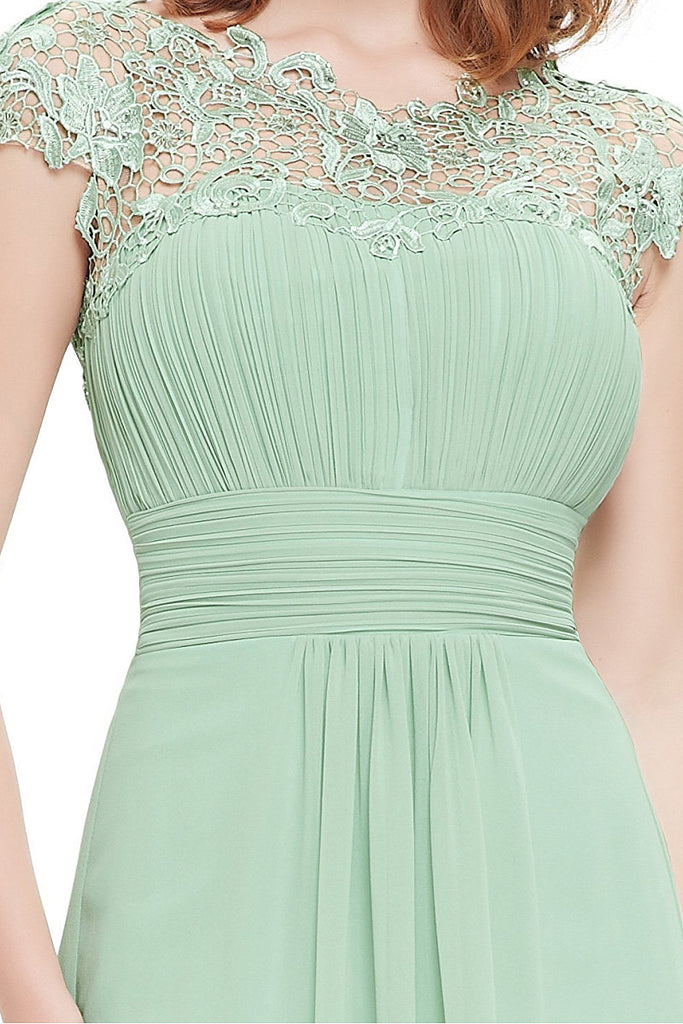 Mint Green Elegant Cap Sleeves Long Chiffon Formal Dress