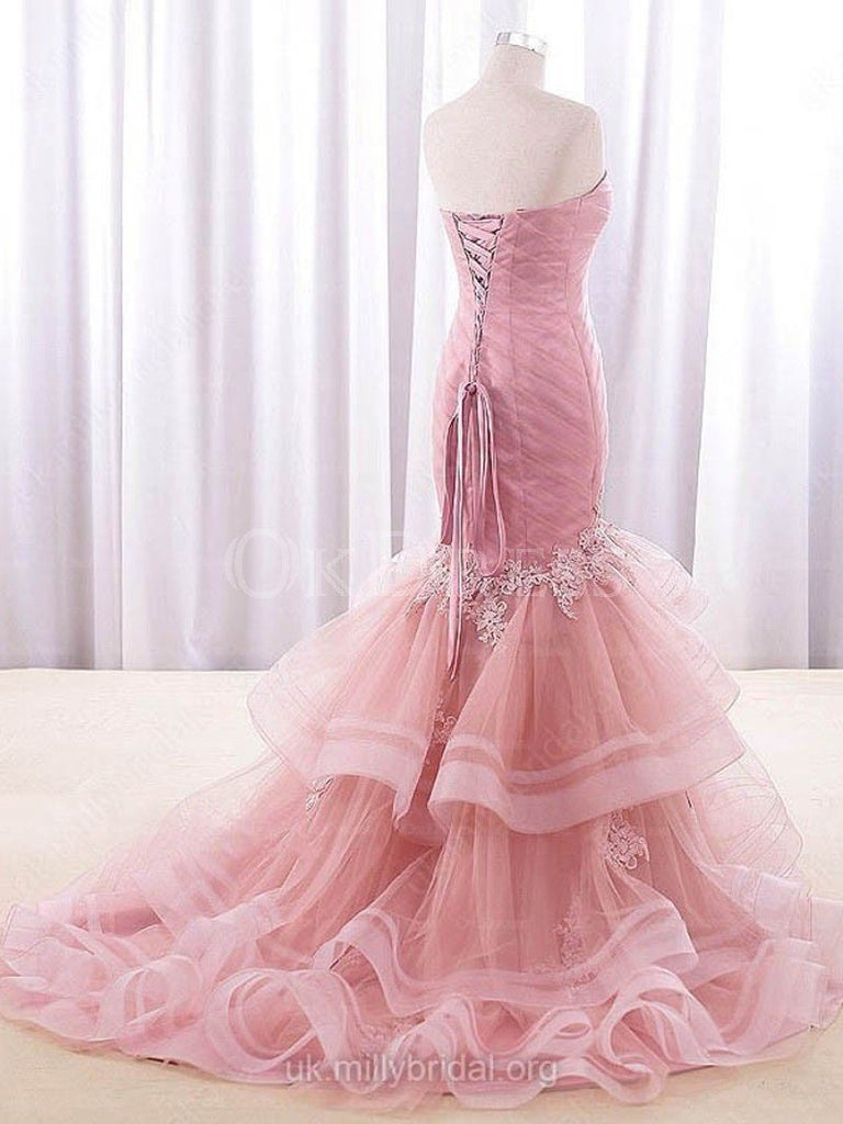 Elaborate Sweep Train Sleeveless Trumpet/Mermaid Sweetheart Tulle Prom Dresses