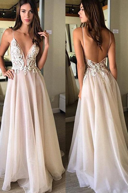 Deep V-Neck Backless Prom Dress with Applique