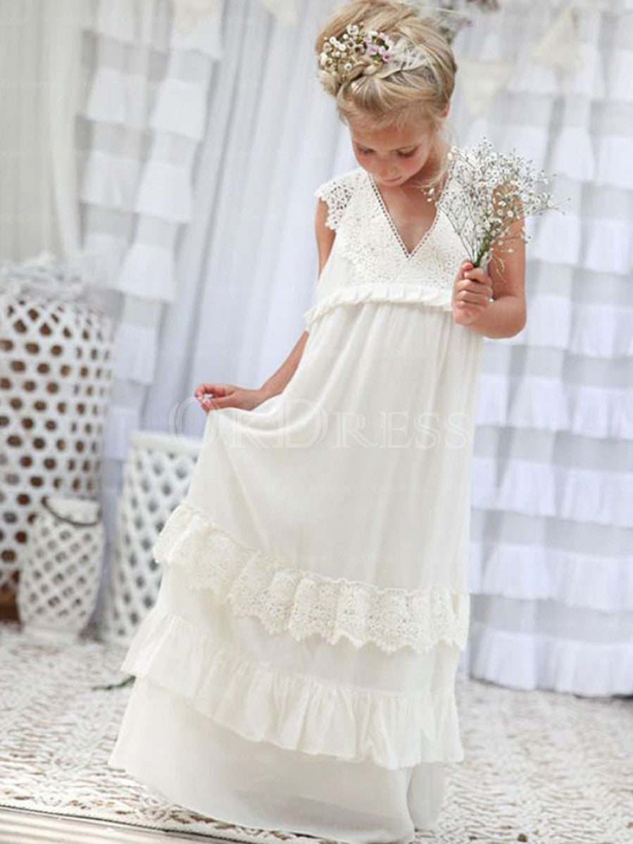 Snazzy A-line V-neck Long Lace Chiffon Flower Girl Dresses