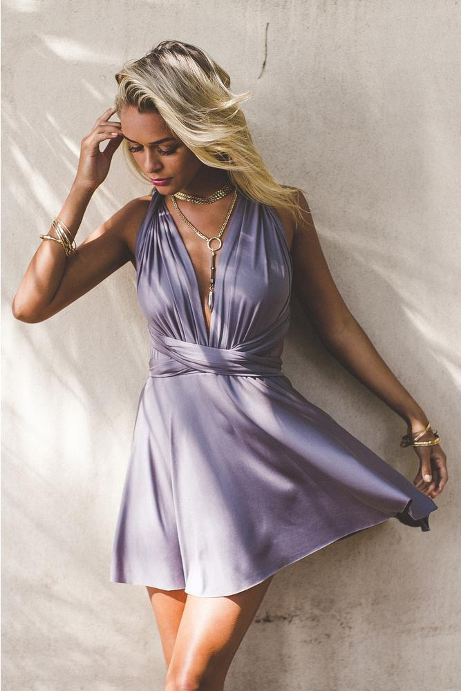 A-Line Deep V-Neck Criss-Cross Straps Short Stretch Satin Lavender Homecoming Dresses