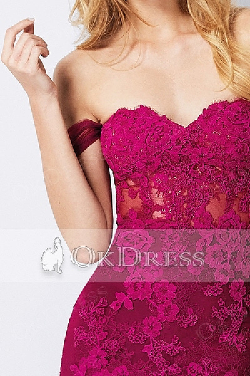 Sexy Trumpet/ Mermaid Off-the-shoulder Split Long Lace Applique Formal Prom Dresses