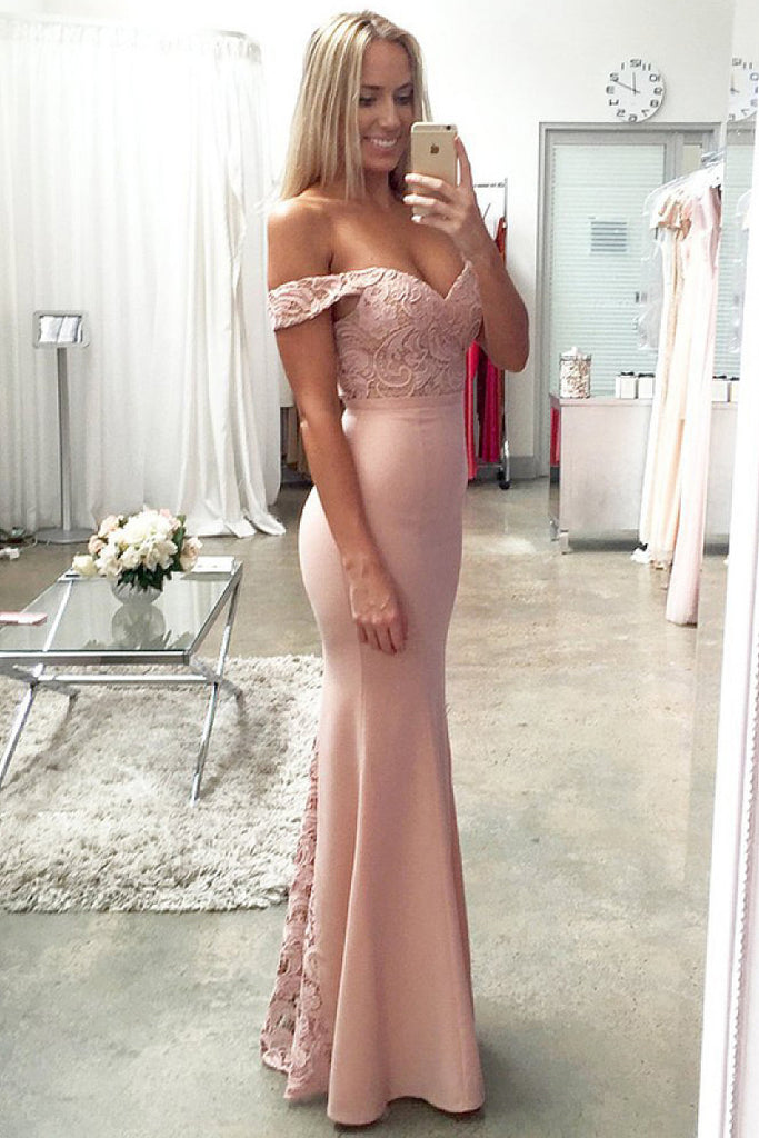Off The Shoulder Floor-length Satin Off The Shoulder Lace Zipper Prom Dresses