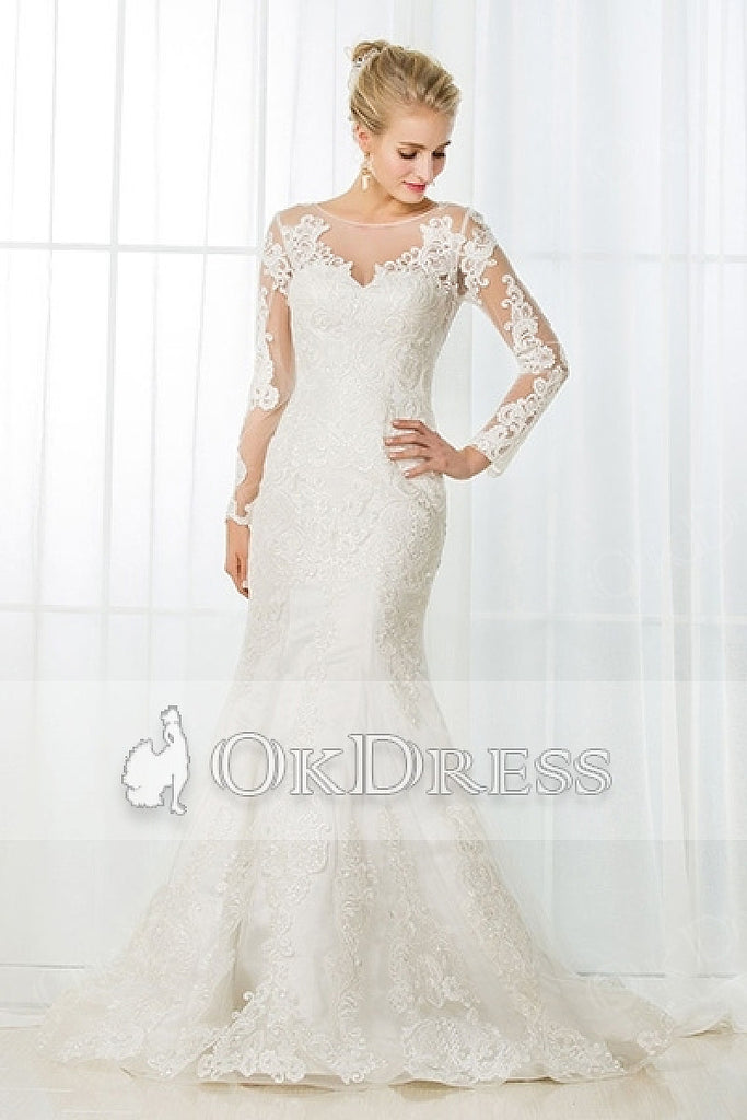 Full/Long Sleeves Illusion Neckline Mermaid Long Bridal Wedding Dresses