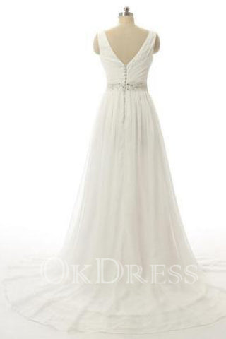 Sleeveless A-line V-neck Beading Wedding Dress