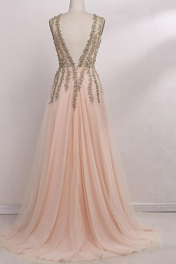 A-Line V-Neck Sleeveless Floor-Length With Beading Tulle Prom Dresses