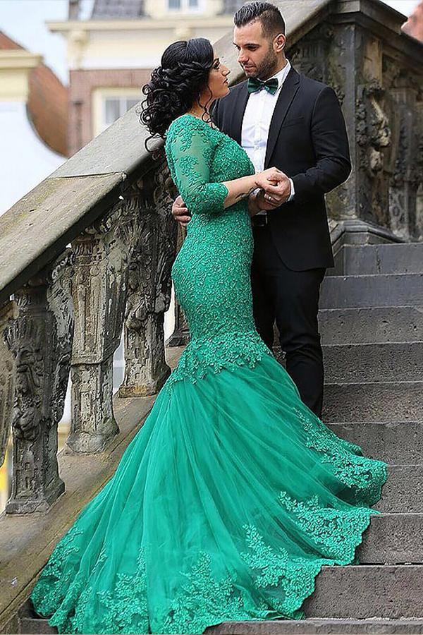 Mermaid V-Neck 3/4 Sleeves Applique Plus Size Prom Dresses