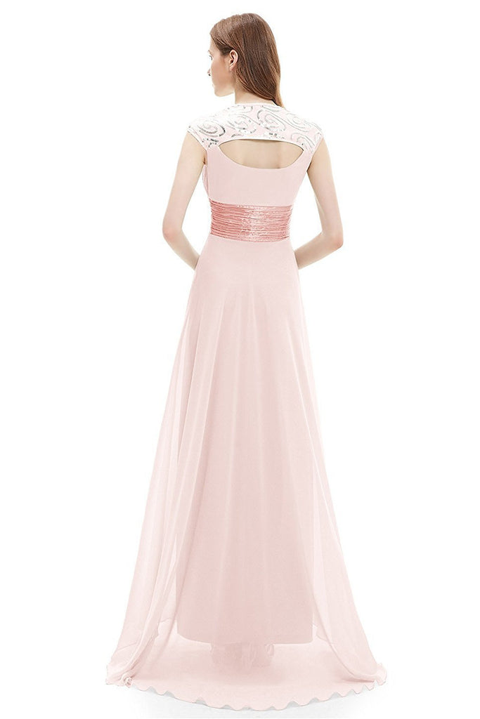 OKdress Chiffon Long Pearl Formal Prom Dress