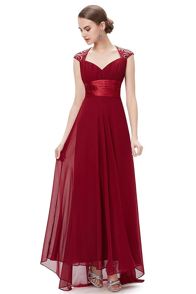 OKdress Chiffon Long Burgundy Formal Prom Dress