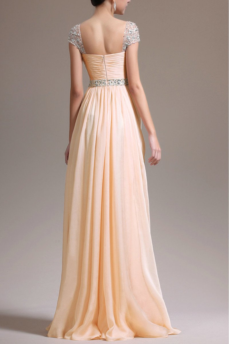 Gorgeous Beadings Cap Sleeves Sweetheart Chiffon A-line Long Prom Dresses