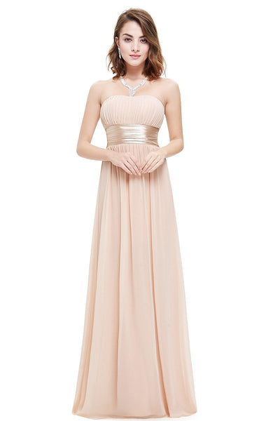 Pink Chiffon A-line Strapless Long Prom/Bridesmaid Dresses