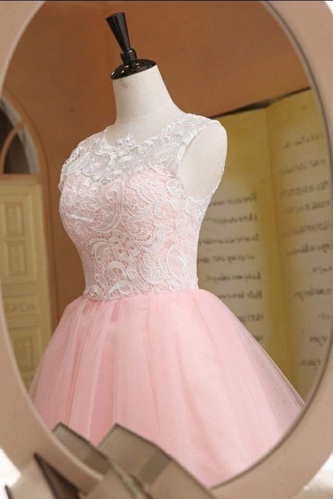 Candy Pink Short/Mini A-line/Princess Lace Tulle Covered Button Cocktail Dresses