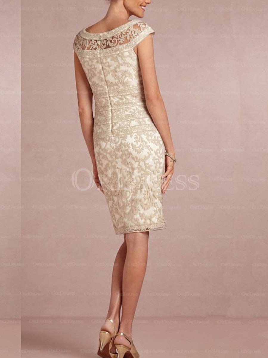 Tactile Natural Zipper Knee-length Appliqued Mother Of The Bride Dresses