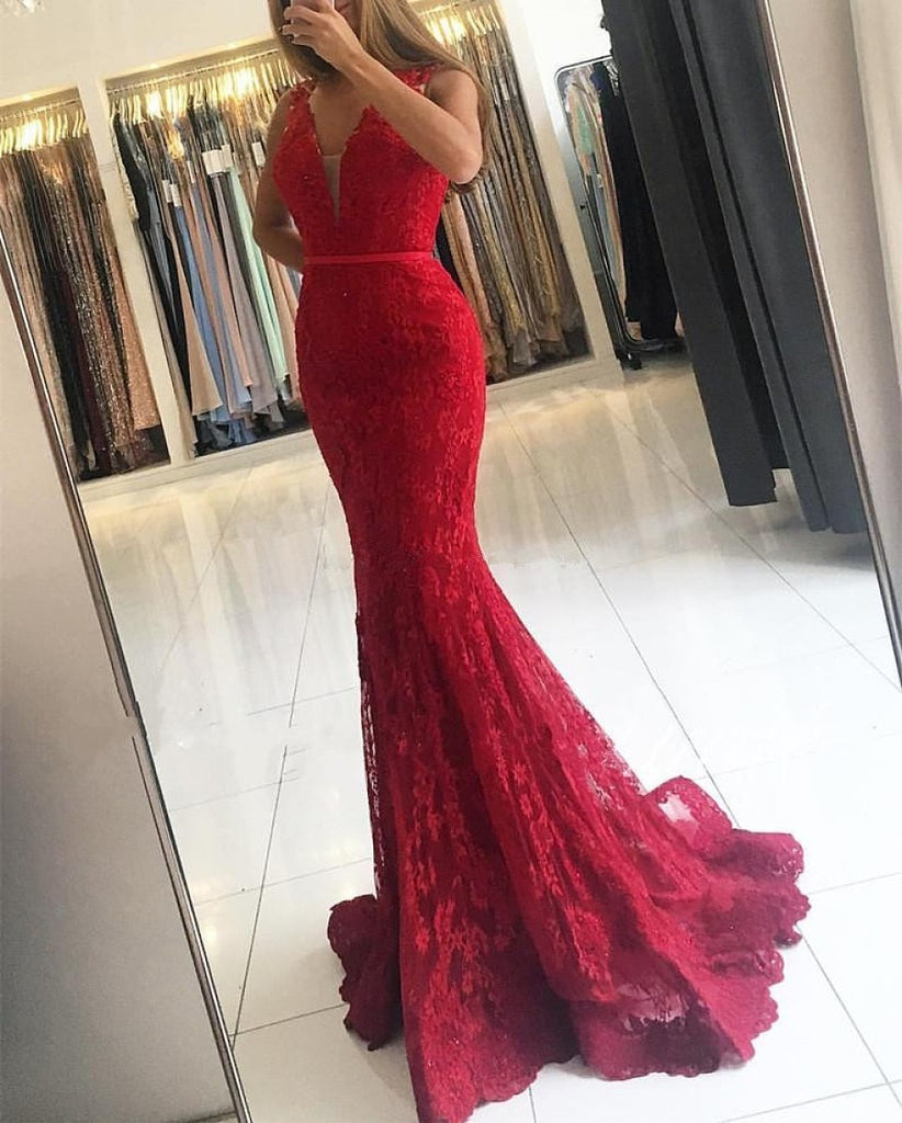 Lace Mermaid Buttons Sweep Train Sleeveless Red Prom Dresses