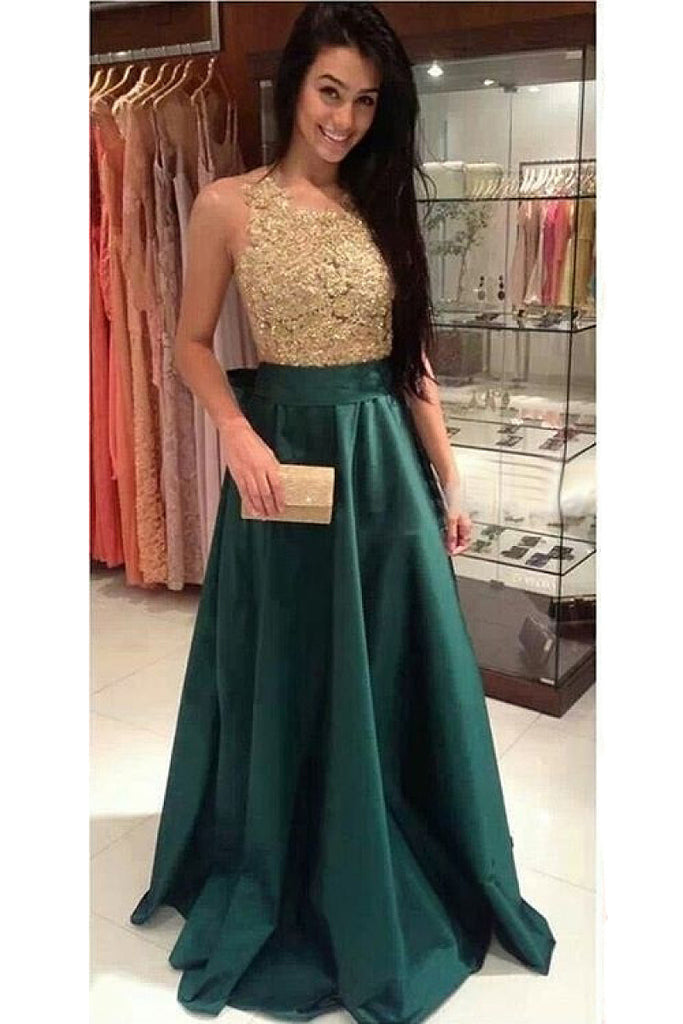 Dark Green Sleeveless Bateau Bow Tie Satin Floor-length Prom Dresses