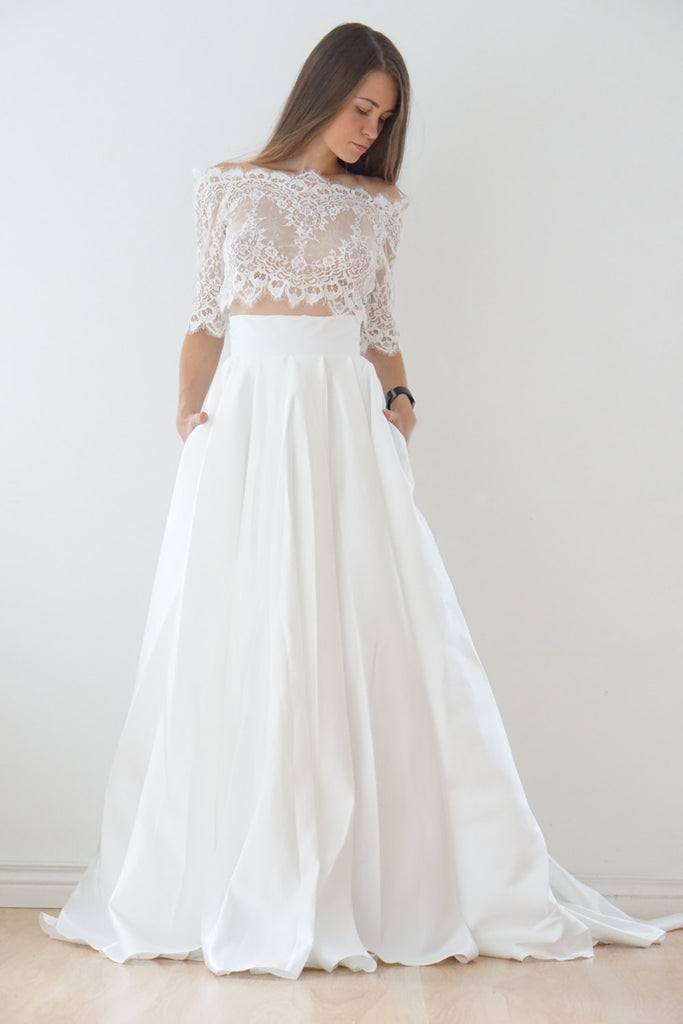 Two-Piece Off-the-shoulder 1/2 Sleeves A-line Long Lace Satin Wedding Dresses
