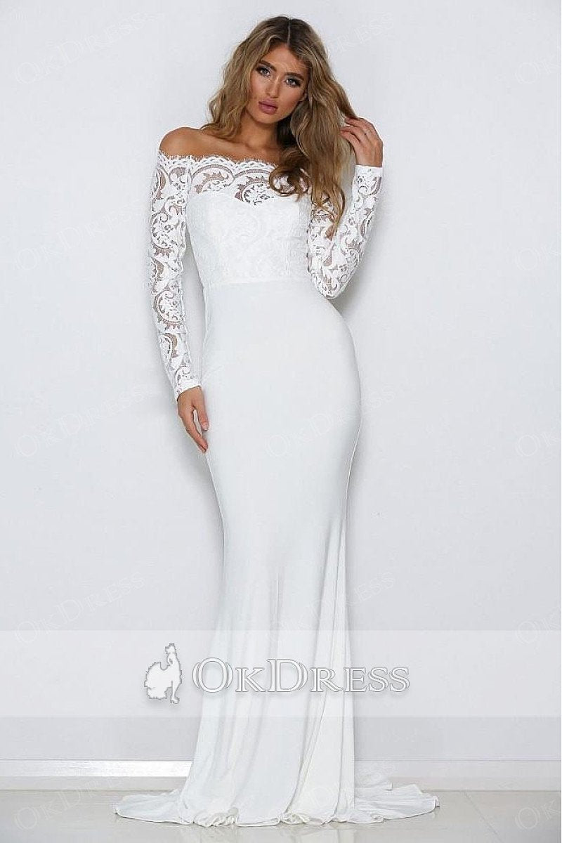 Trumpet/Mermaid Full/Long Sleeves Off-the-shoulder Formal White Prom Dresses