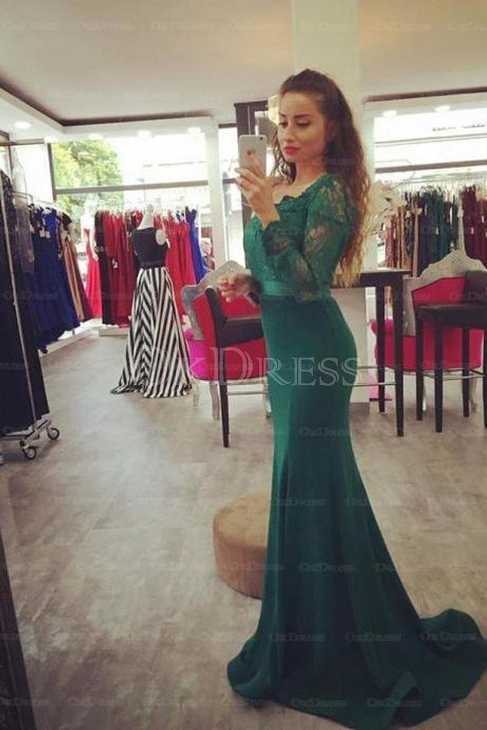 Sophisticated Off The Shoulder Long Sleeves Sweep Train Trumpet/Mermaid Prom Dresses