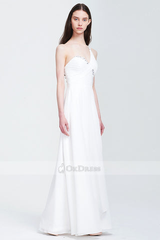 A-line/Princess Chiffon Natural White Zipper Long Prom Dresses
