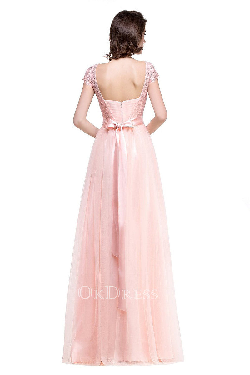 Classic A-line Cap Sleeves Bateau Lace Tulle Floor-length Bridesmaid Dresses