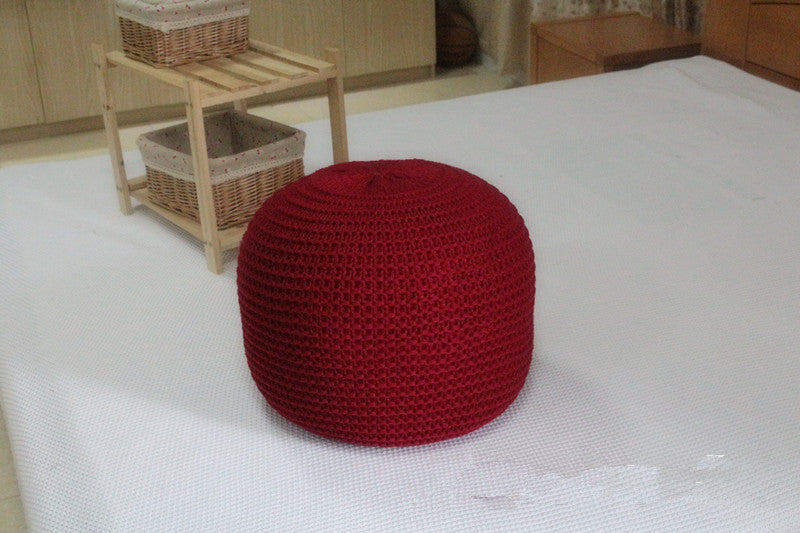 Hand Made Knitted Round Poof