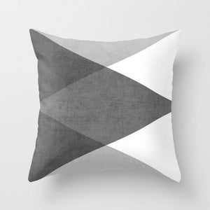 White and Grey Geometric Pillow Case