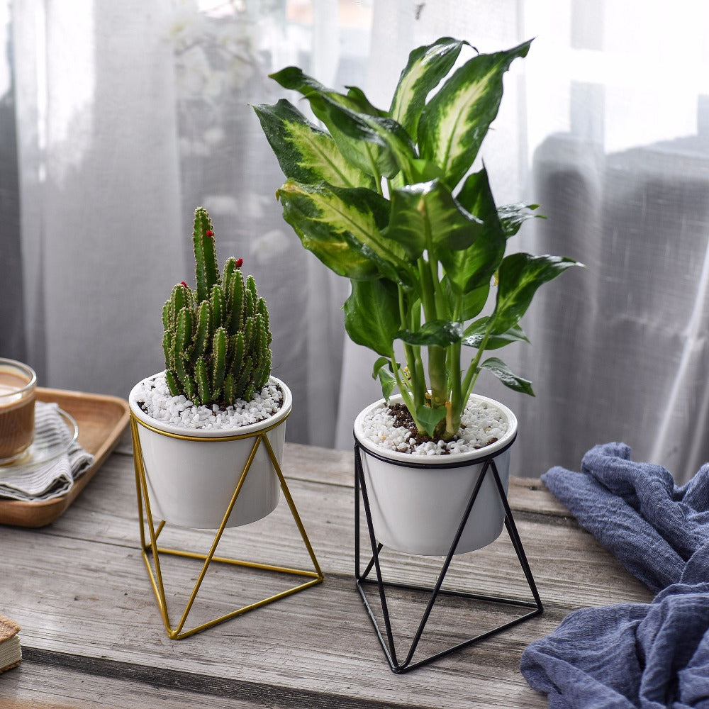 Ceramic Planter with Geometric Iron Rack Holder