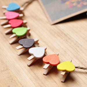 Mini Wooden Peg Clips Heart Shape (50 pcs)
