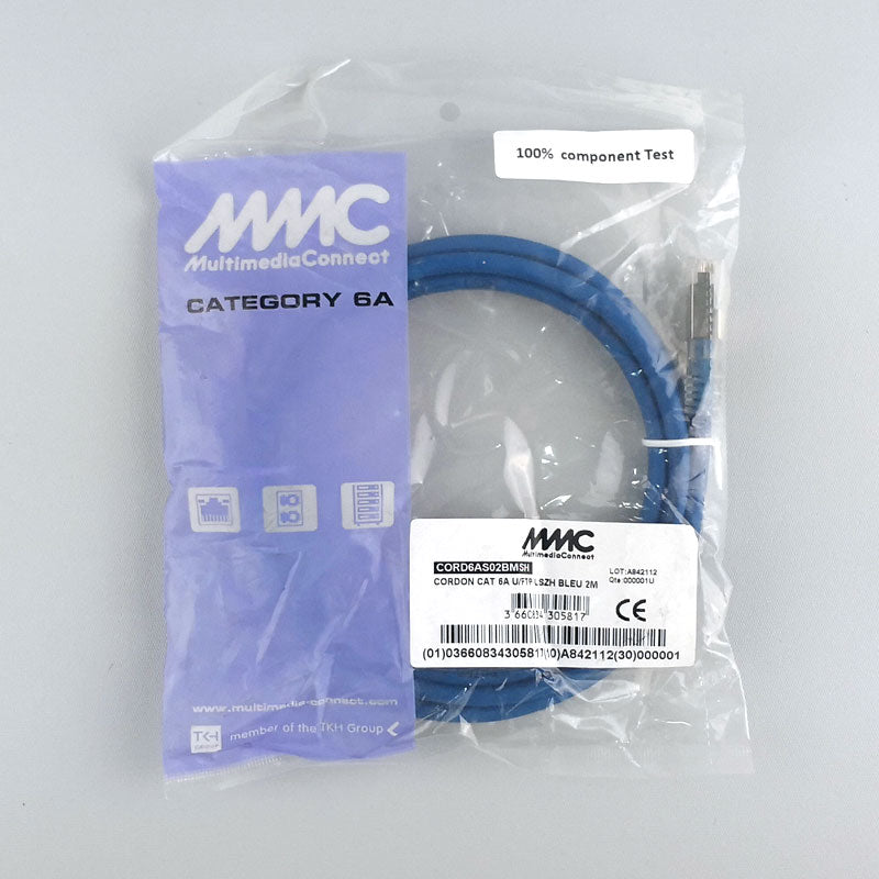 Cat6a Shielded (U/FTP) Ethernet Network LSZH 2m Blue Patch Cord