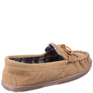 Mirak Mens Alberta Suede Textile Lined Moccasin Style Slipper Navy