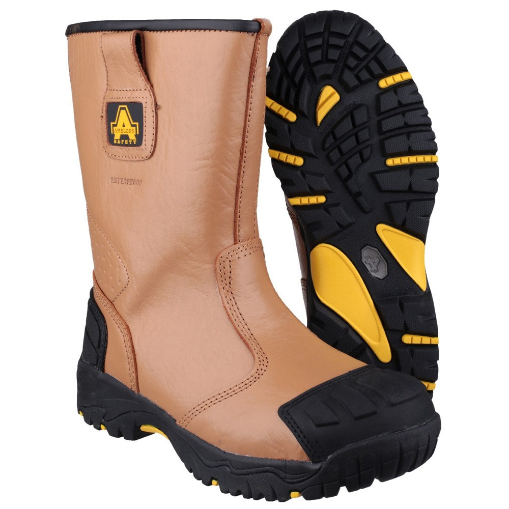 368d564c628 Mens Amblers Safety FS143 Waterproof pull on Safety Rigger Boot Tan ...